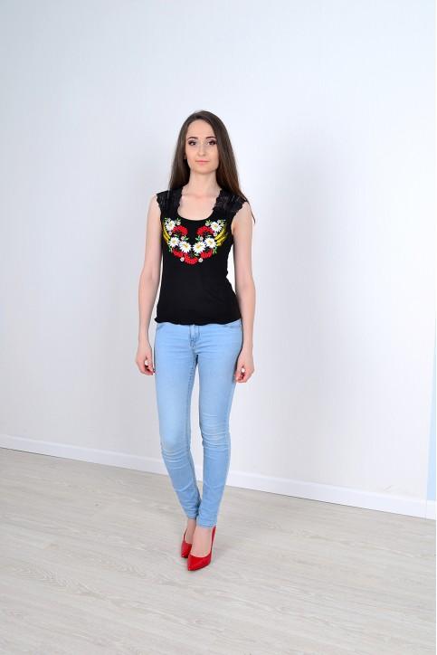 Купити жіночу футболку вишиванку Рандеву ( чорна) в Україні від Галичанка фото 1
