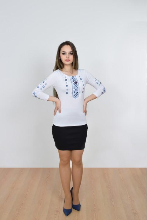 Купити жіночу футболку вишиванку Колорит (біла з синім) в Україні від Галичанка фото 1