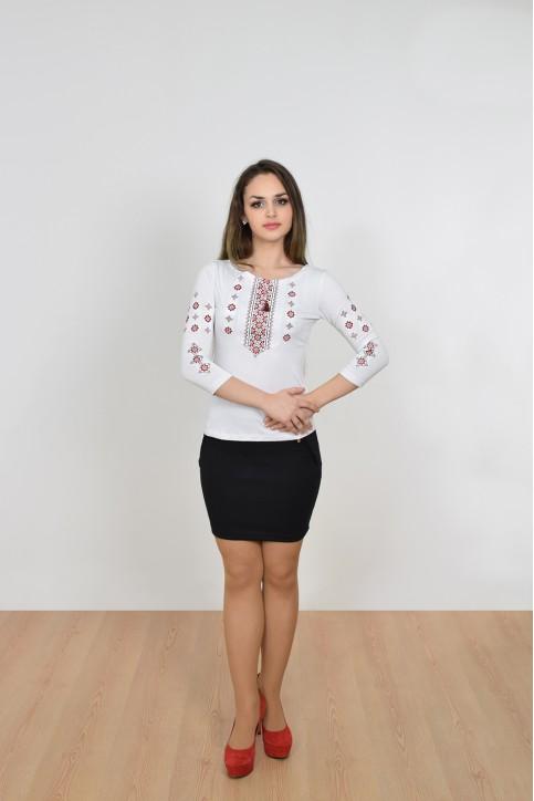 Купити жіночу футболку вишиванку Колорит (біла з червоним) в Україні від Галичанка фото 1