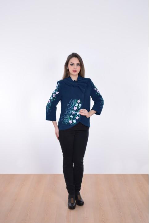 Купити жіночий жакет з вишивкою Дзвіночок (темно синій) в Україні від Галичанка фото 1