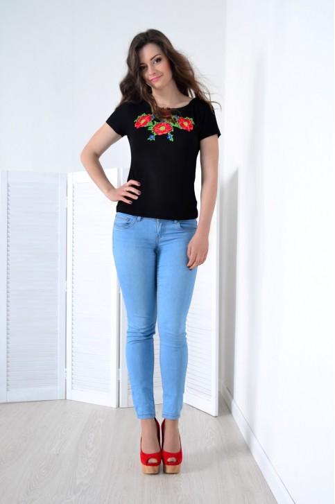 Купити жіночу футболку вишиванку Макове намисто (чорна) в Україні від Галичанка фото 1