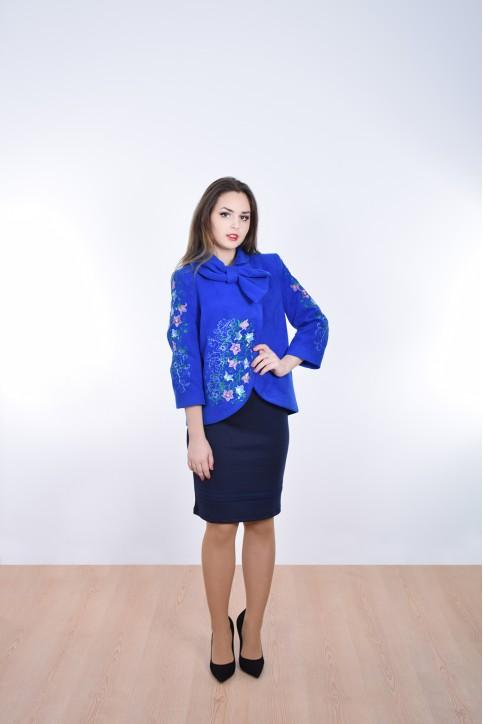 Купити жіночий жакет з вишивкою Дзвіночок (електрик) в Україні від Галичанка фото 1