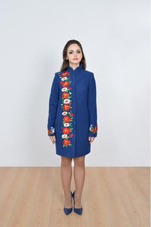 Купити пальто з вишивкою Барвисті сни (електрик)в Україні від Галичанка фото 1
