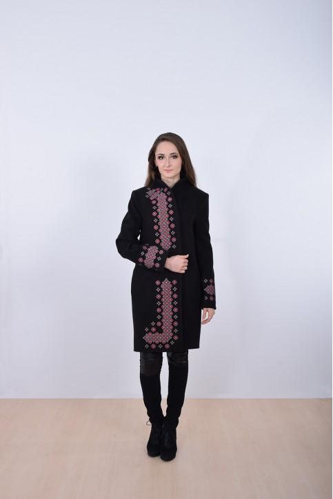 Купити кашемірове вишите пальто  Каштан (чорне)в Україні від Галичанка фото 1