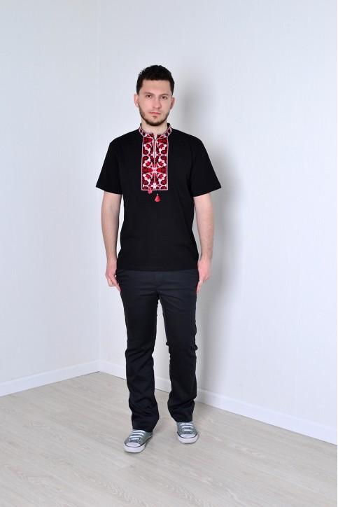 Купити чоловічу футболку вишиванку Гойра ( чорна з червоним ) в Україні від Галичанка фото 1