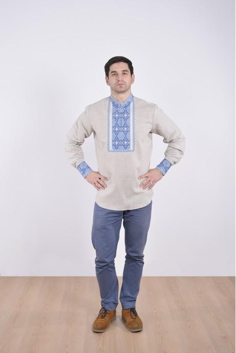 Гетман (серый с синим) - чол.сорочка з замком д/р льон сірий виш.синя Гетьман PV-66 фото 1