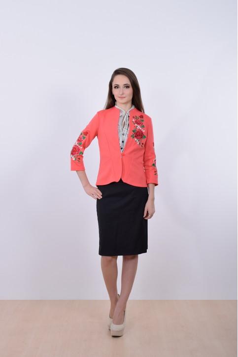 Купити жіночий піджак Троянда (корал) з вишивкою в Україні від Галичанка фото 1