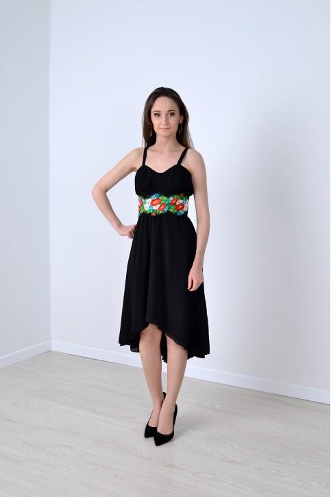 Купити вишиту сукню Інтрига (чорна) в Україні від виробника Галичанка фото 1