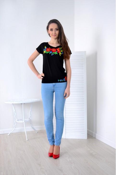 Купити жіночу футболку вишиванку Мелодія (чорна) в Україні від Галичанка фото 1