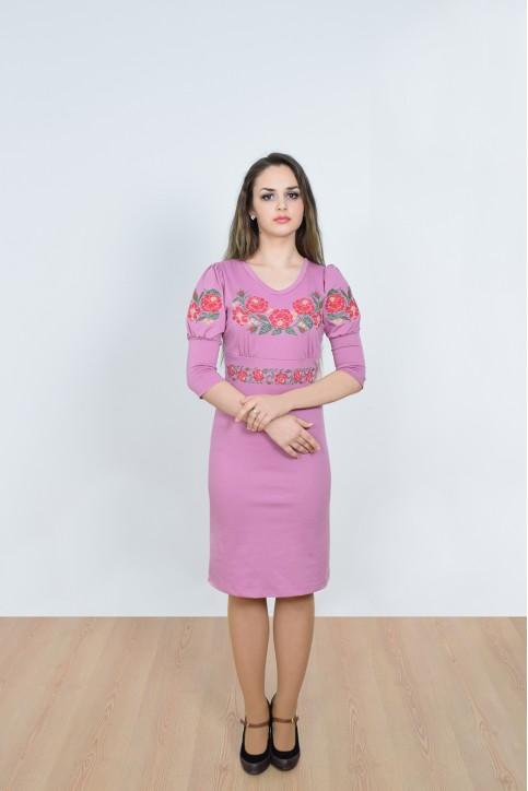 Купити вишиту сукню Панські троянди (фіолетова) в Україні від виробника Галичанка фото 1