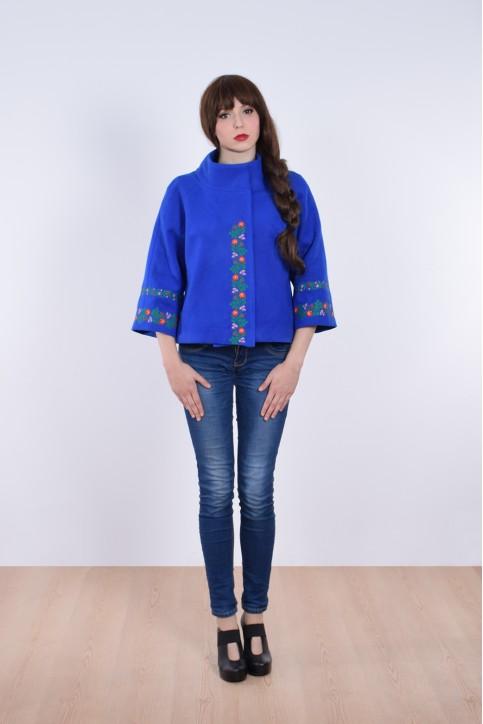 Купити жіночий жакет з вишивкою Квіткова мережка (електрик) в Україні від Галичанка фото 1