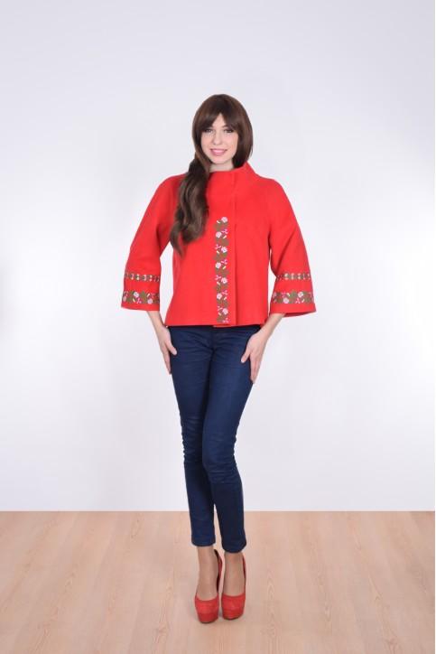 Купити жіночий жакет з вишивкою Квіткова мережка (червоне) в Україні від Галичанка фото 1