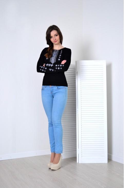 Купити жіночу футболку вишиванку Грація (чорна з сірим) в Україні від Галичанка фото 1