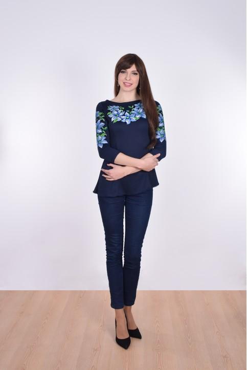 Купити жіночу туніку з вишивкою Блакитні лілії (синій) в Україні від Галичанка фото 1