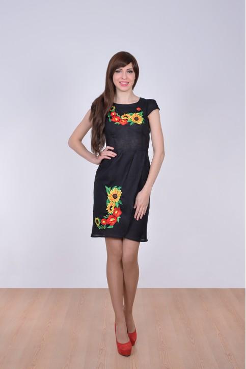Купити вишиту сукню Вранішня роса (чорна) в Україні від виробника Галичанка фото 1