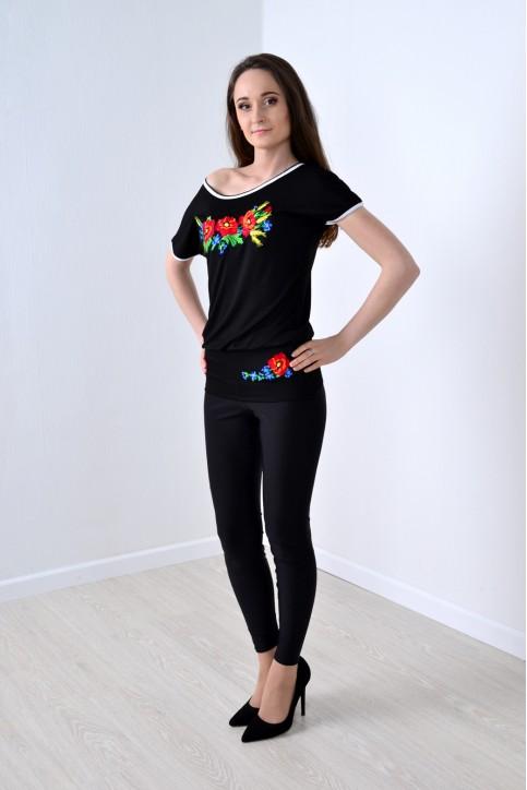 Купити жіночу туніку з вишивкою Рапсодія (чорний) в Україні від Галичанка фото 1