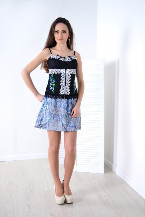 Купити жіночий корсет Мак (чорний з синім) з вишивкою в Україні від Галичанка фото 1