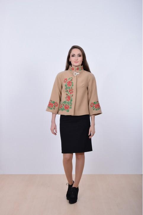 Купити жіночий жакет з вишивкою Дика Ружа (бежеве) в Україні від Галичанка фото 1