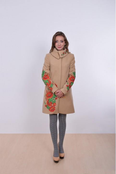 Купити пальто з вишивкою Букет маків (бежеве)в Україні від Галичанка фото 1