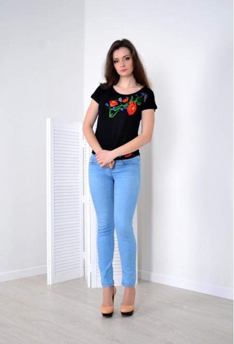 Купити жіночу футболку вишиванку Делікатність (чорна) в Україні від Галичанка фото 1
