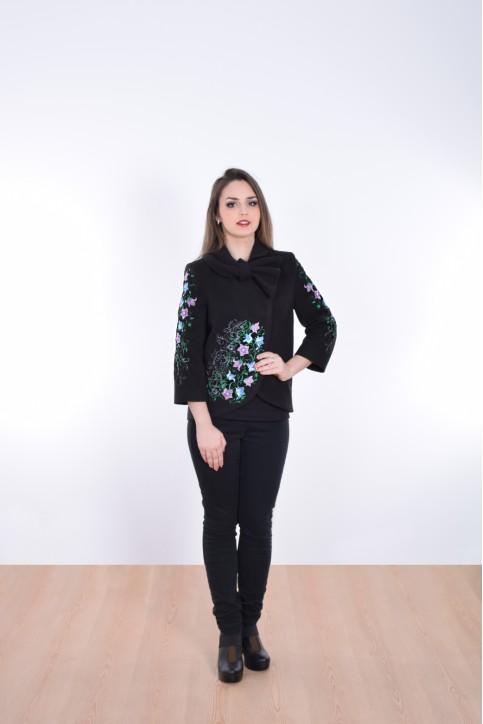 Купити жіночий жакет з вишивкою Дзвіночок (чорне) в Україні від Галичанка фото 1