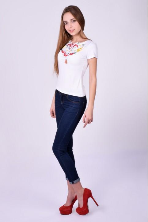 Купити жіночу футболку вишиванку Крилате серце (біла) в Україні від Галичанка фото 1