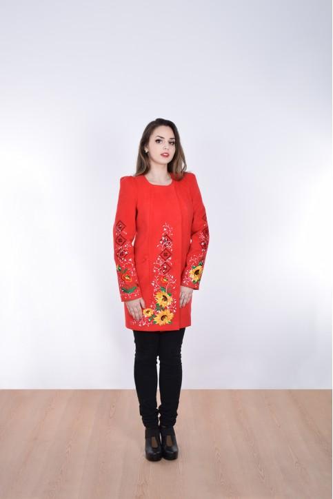 Купити пальто з вишивкою Долина сонця (червоне)в Україні від Галичанка фото 1