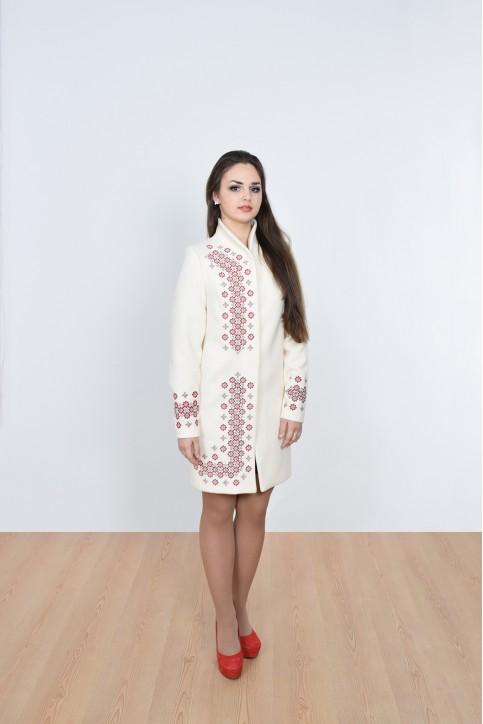 Купити пальто з вишивкою Каштан (біле)в Україні від Галичанка фото 1
